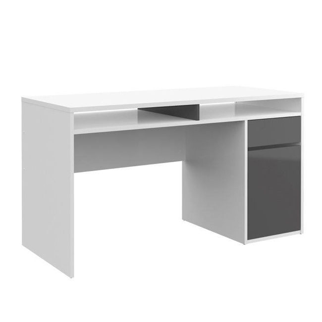 Function plus biurko bia y szary for Bureau gris et blanc