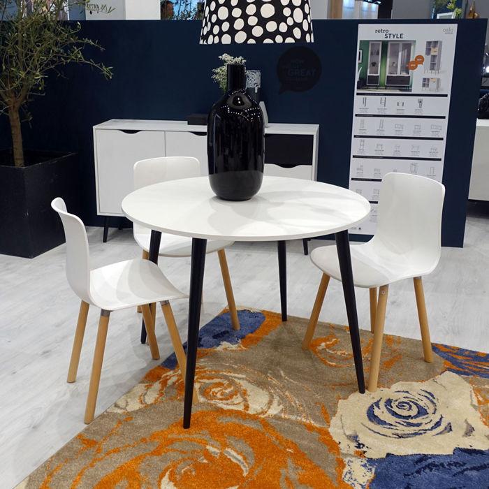 Aktualne Nowoczesny okrągły biały stół 100x100 cm stylu retro BS29